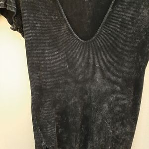 Free People Tops - Free People black acid wash deep v ribbed tee